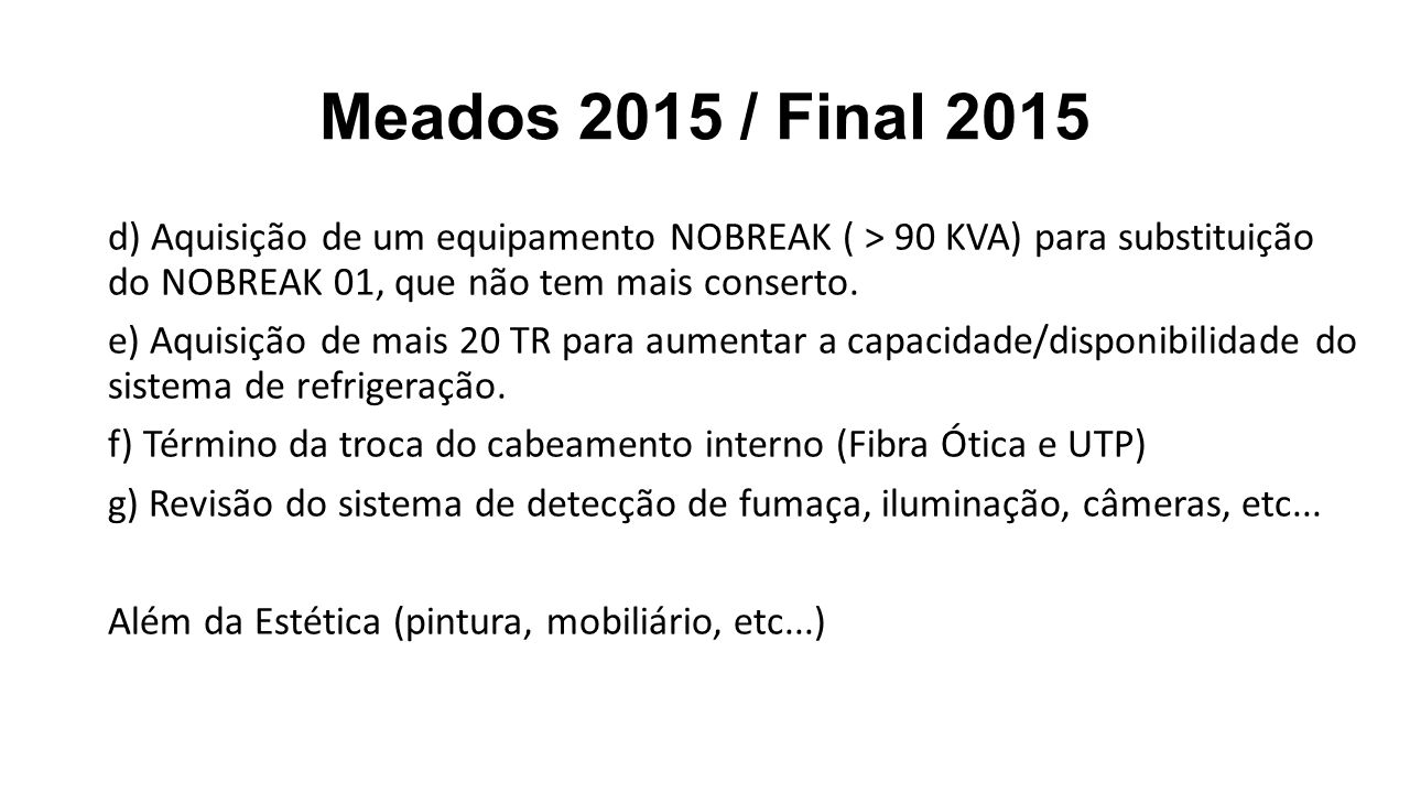 Meados 2015 / Final 2015