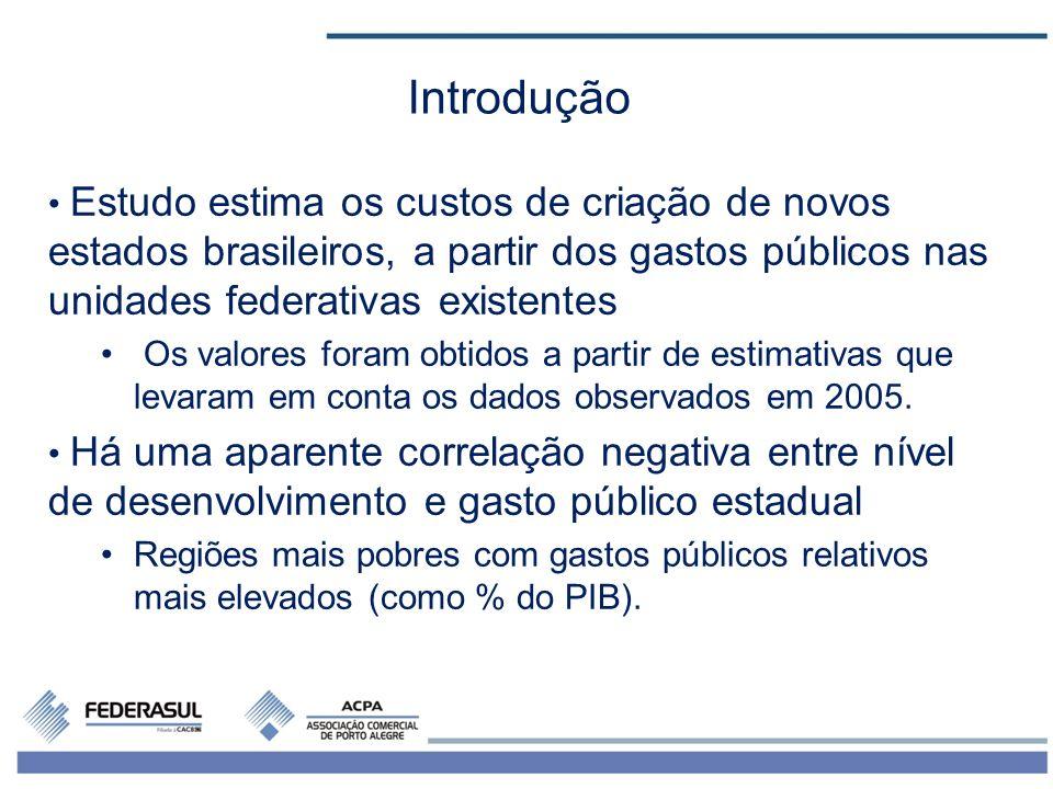 Introdução Estudo estima os custos de criação de novos estados brasileiros, a partir dos gastos públicos nas unidades federativas existentes.
