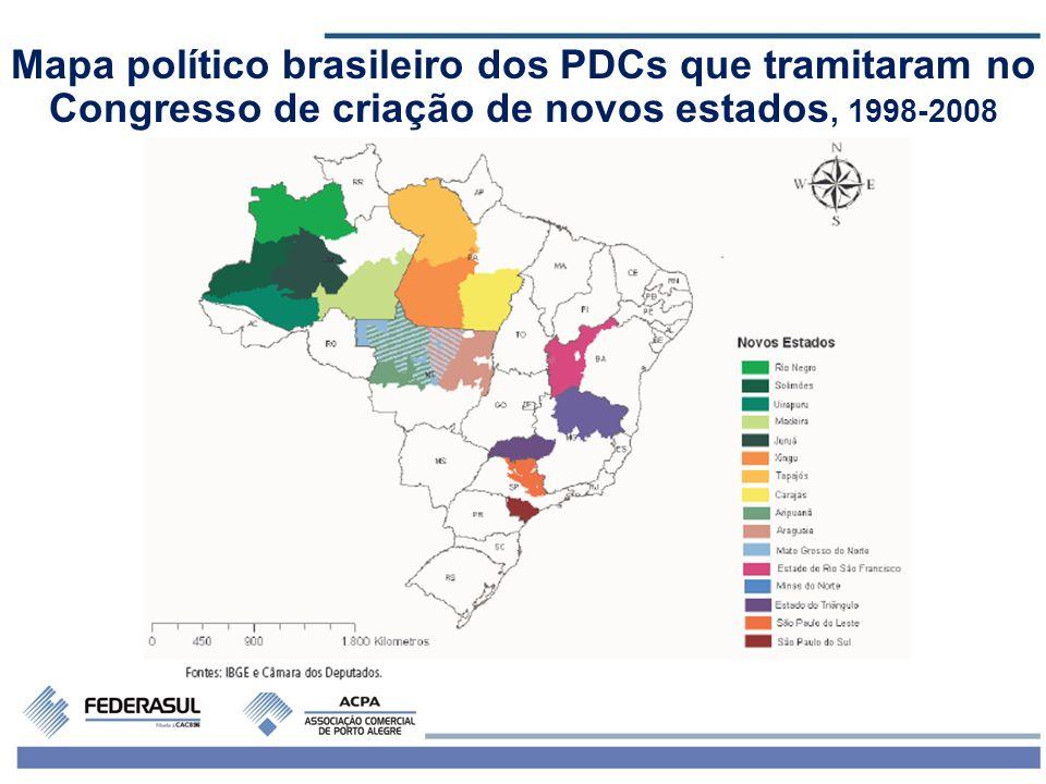 Mapa político brasileiro dos PDCs que tramitaram no Congresso de criação de novos estados, 1998-2008