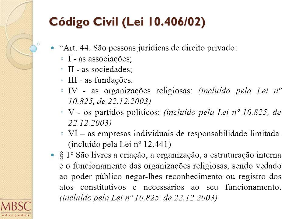 Código Civil (Lei 10.406/02) Art. 44. São pessoas jurídicas de direito privado: I - as associações;