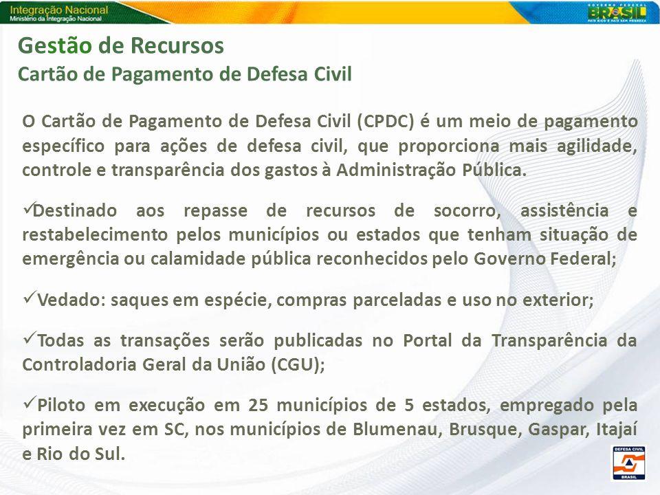 Gestão de Recursos Cartão de Pagamento de Defesa Civil