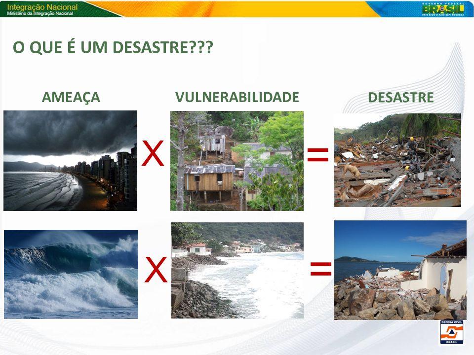 O QUE É UM DESASTRE AMEAÇA VULNERABILIDADE DESASTRE = X = X