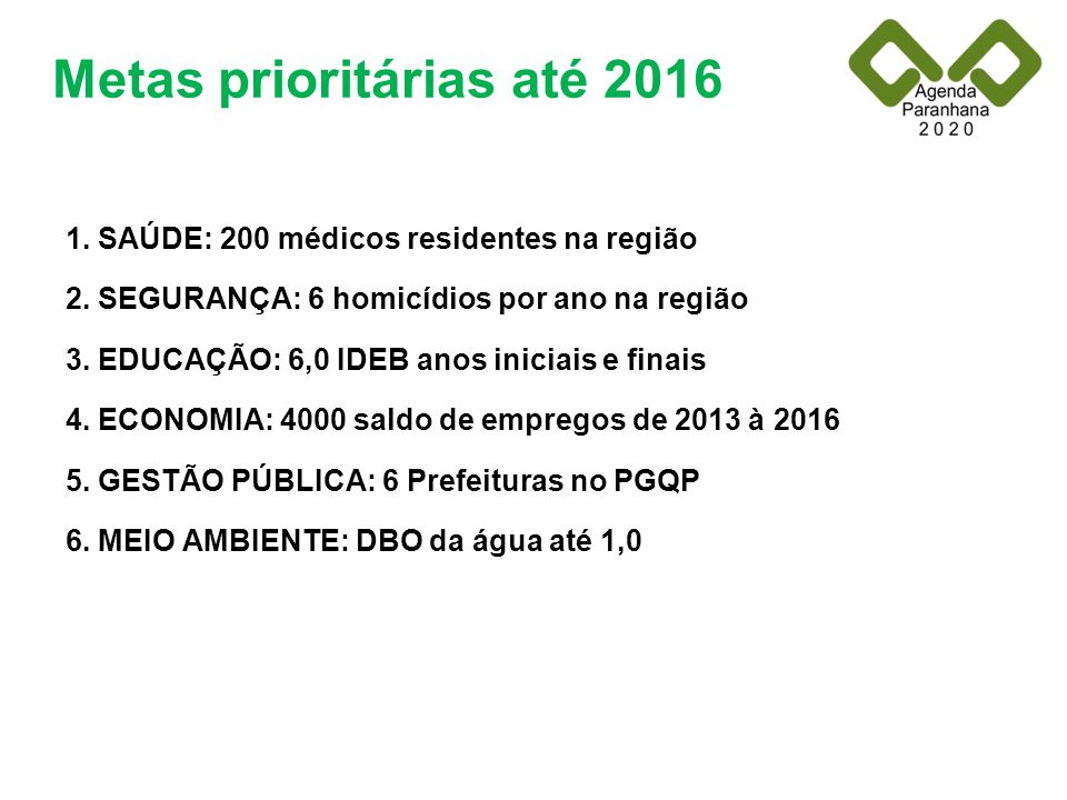 Metas prioritárias até 2016