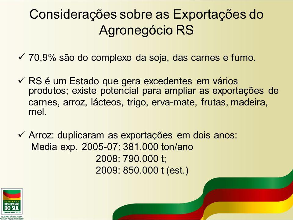Considerações sobre as Exportações do Agronegócio RS