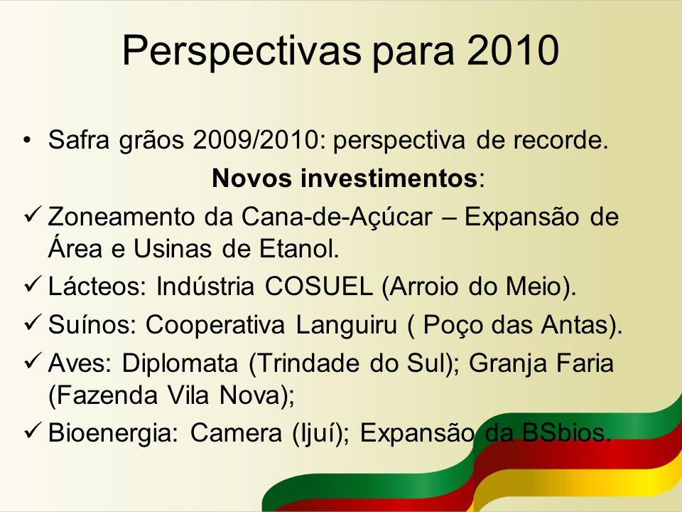Perspectivas para 2010 Safra grãos 2009/2010: perspectiva de recorde.