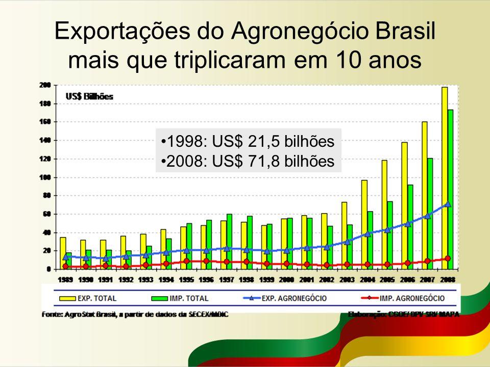 Exportações do Agronegócio Brasil mais que triplicaram em 10 anos