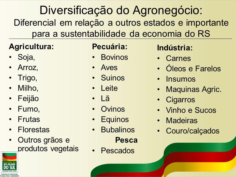 Diversificação do Agronegócio: Diferencial em relação a outros estados e importante para a sustentabilidade da economia do RS