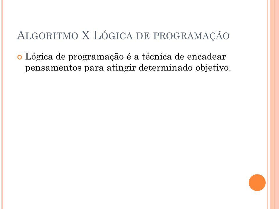 Algoritmo X Lógica de programação
