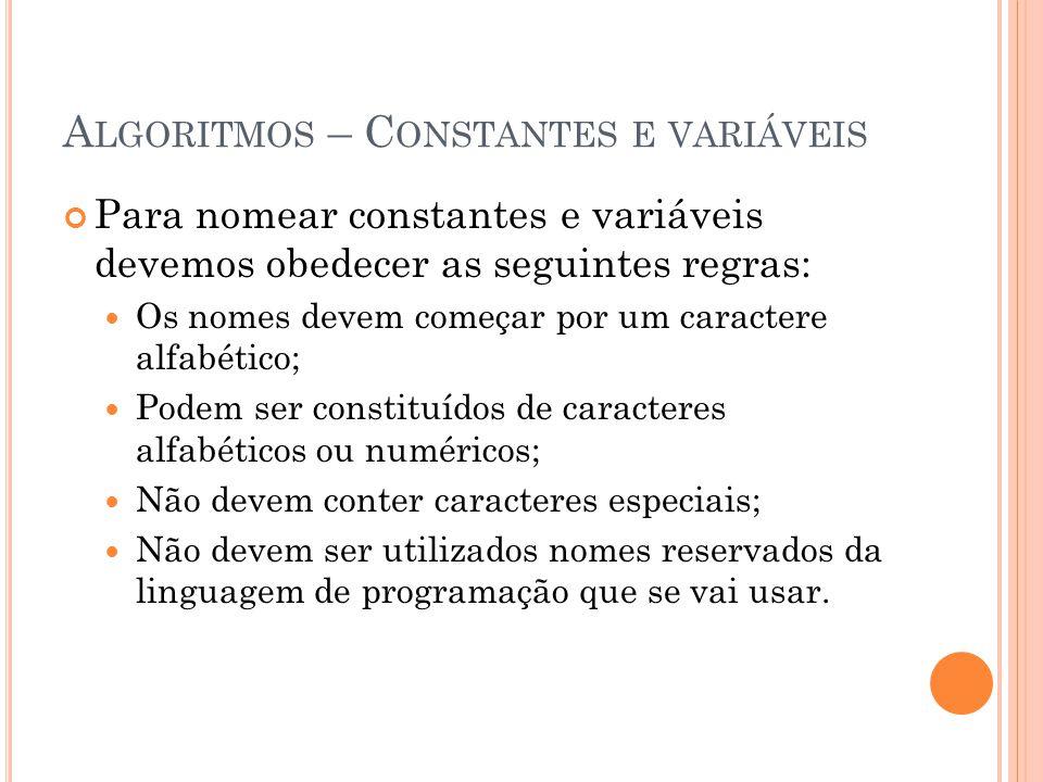 Algoritmos – Constantes e variáveis