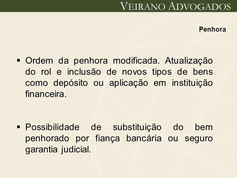 Penhora Ordem da penhora modificada. Atualização do rol e inclusão de novos tipos de bens como depósito ou aplicação em instituição financeira.