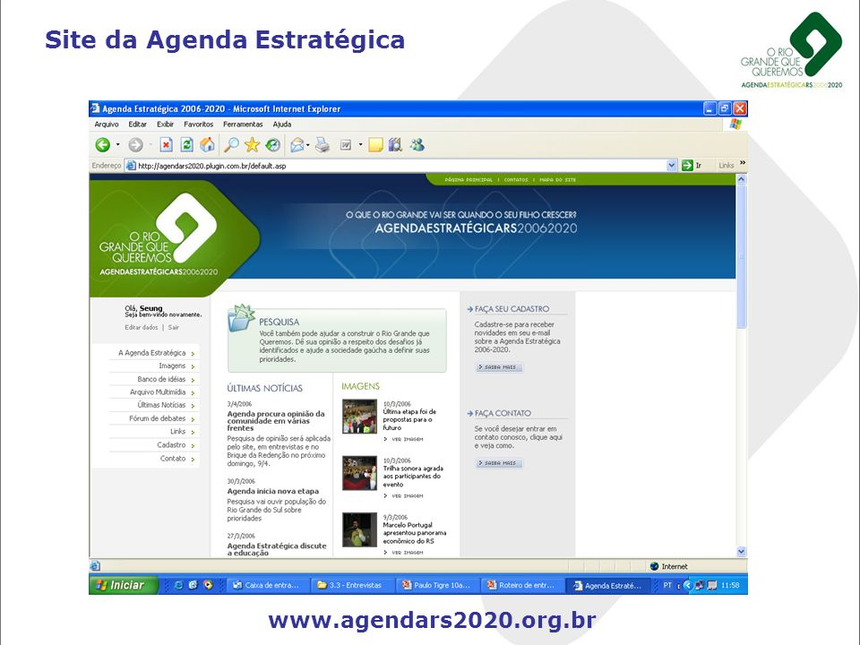 Site da Agenda Estratégica