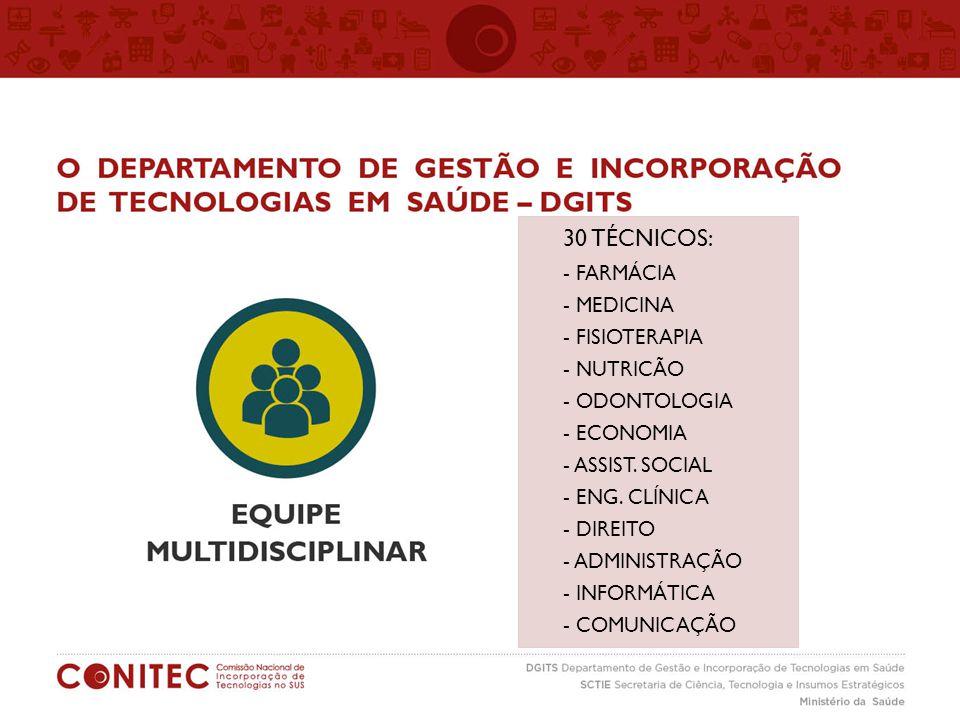 30 TÉCNICOS: - FARMÁCIA - MEDICINA - FISIOTERAPIA - NUTRICÃO
