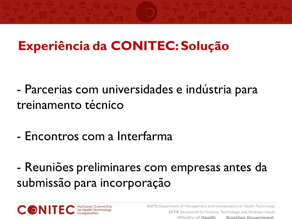 Experiência da CONITEC: Solução