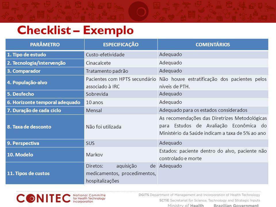 Checklist – Exemplo Parâmetro Especificação Comentários