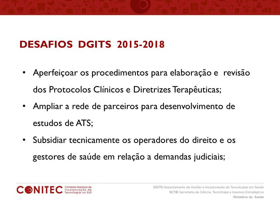 DESAFIOS DGITS 2015-2018 Aperfeiçoar os procedimentos para elaboração e revisão dos Protocolos Clínicos e Diretrizes Terapêuticas;