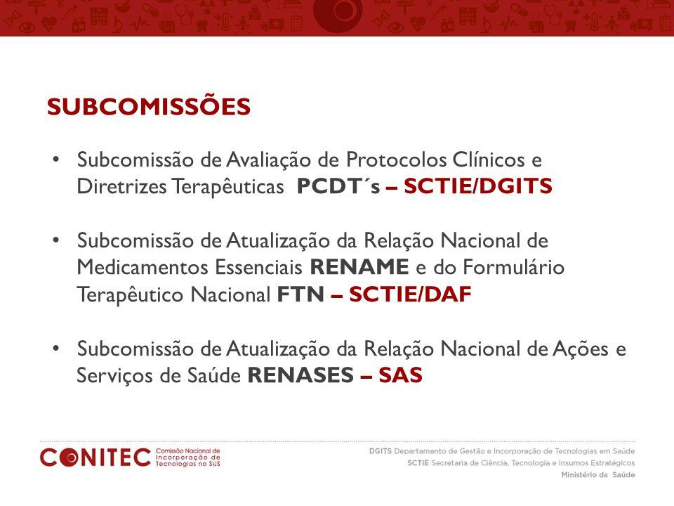 SUBCOMISSÕES Subcomissão de Avaliação de Protocolos Clínicos e