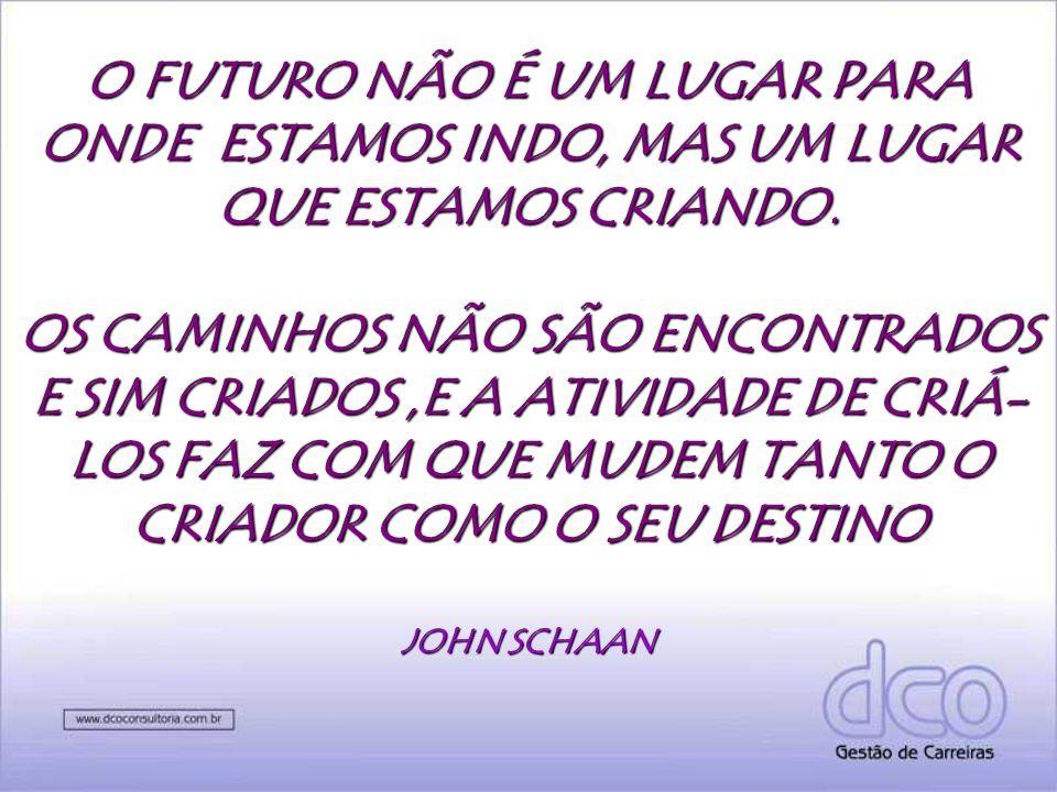 O FUTURO NÃO É UM LUGAR PARA ONDE ESTAMOS INDO, MAS UM LUGAR QUE ESTAMOS CRIANDO.