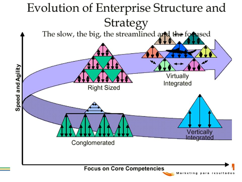 Many enterprises today embrace the traditional, vertically integrated model with a singular product or service focus. The structure is hierarchical and centrally controlled, with most processes embedded