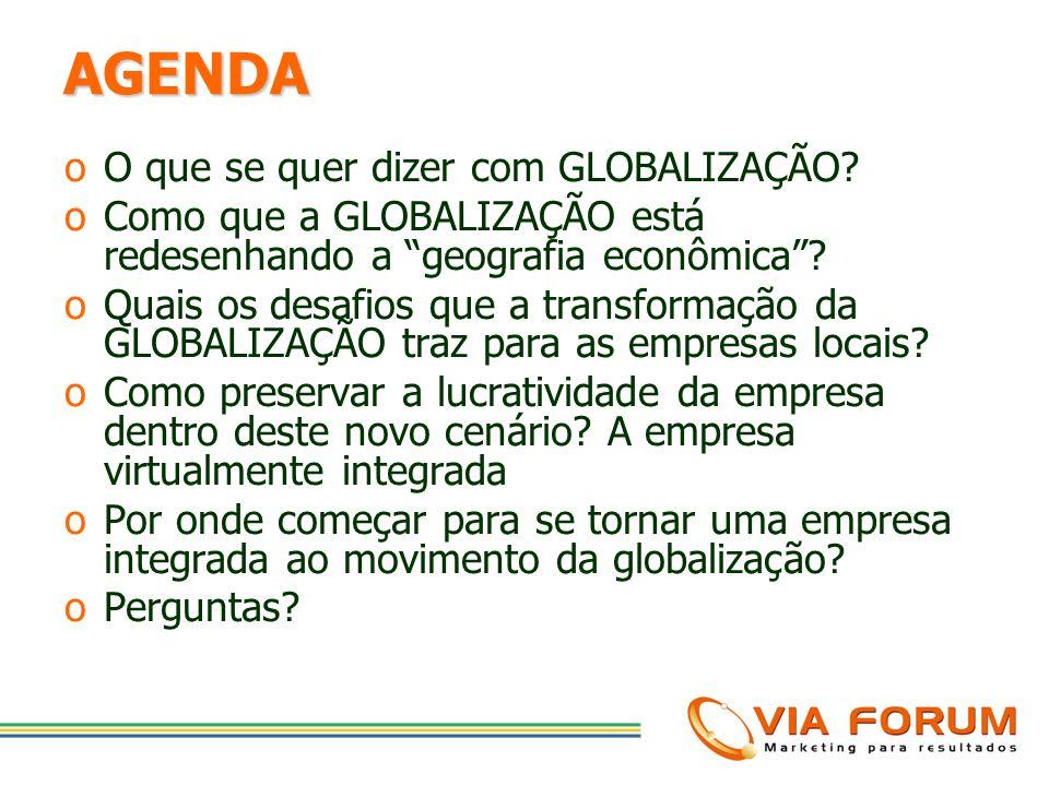 AGENDA O que se quer dizer com GLOBALIZAÇÃO