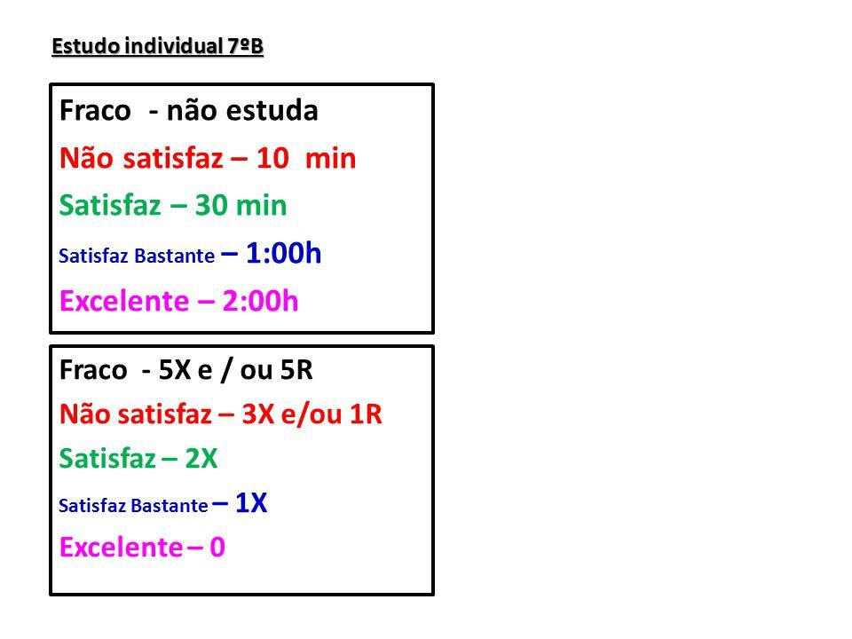 Fraco - não estuda Não satisfaz – 10 min Satisfaz – 30 min