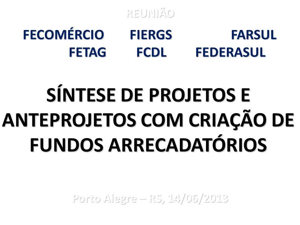 REUNIÃO FECOMÉRCIO FIERGS FARSUL. FETAG FCDL FEDERASUL. Porto Alegre – RS, 14/06/2013.