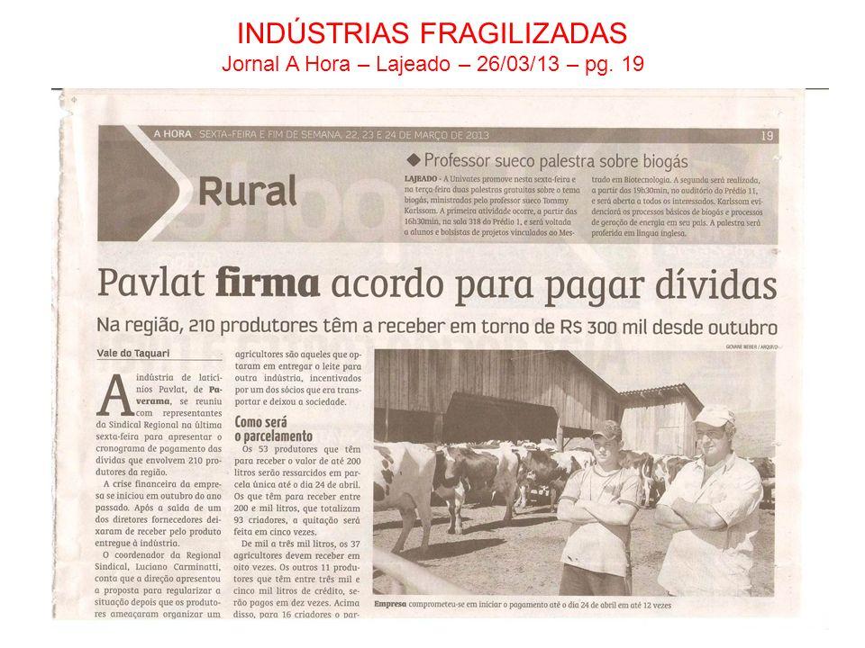 INDÚSTRIAS FRAGILIZADAS