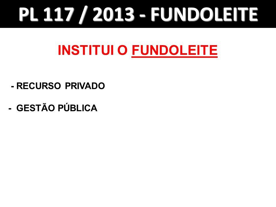 PL 117 / 2013 - FUNDOLEITE INSTITUI O FUNDOLEITE - RECURSO PRIVADO