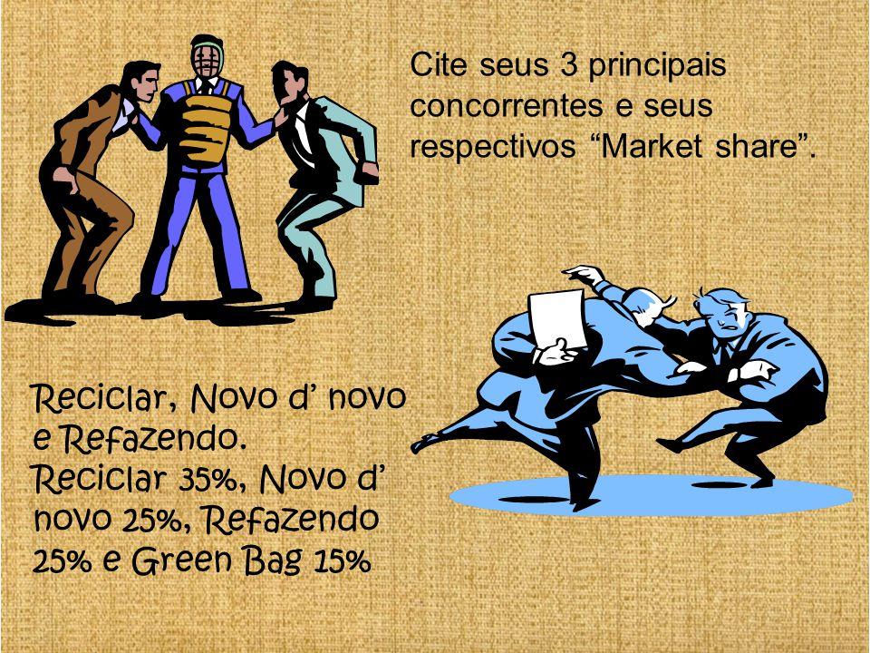Cite seus 3 principais concorrentes e seus respectivos Market share .