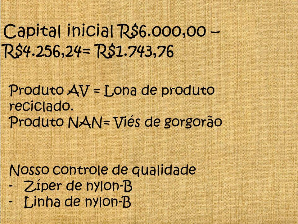 Capital inicial R$6.000,00 – R$4.256,24= R$1.743,76