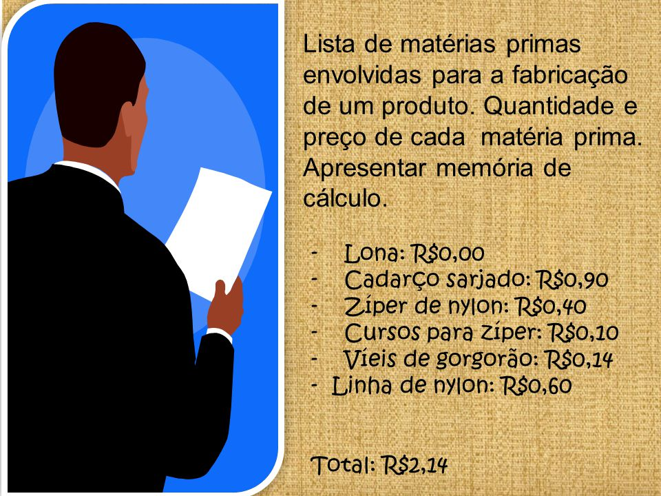 Lista de matérias primas envolvidas para a fabricação de um produto