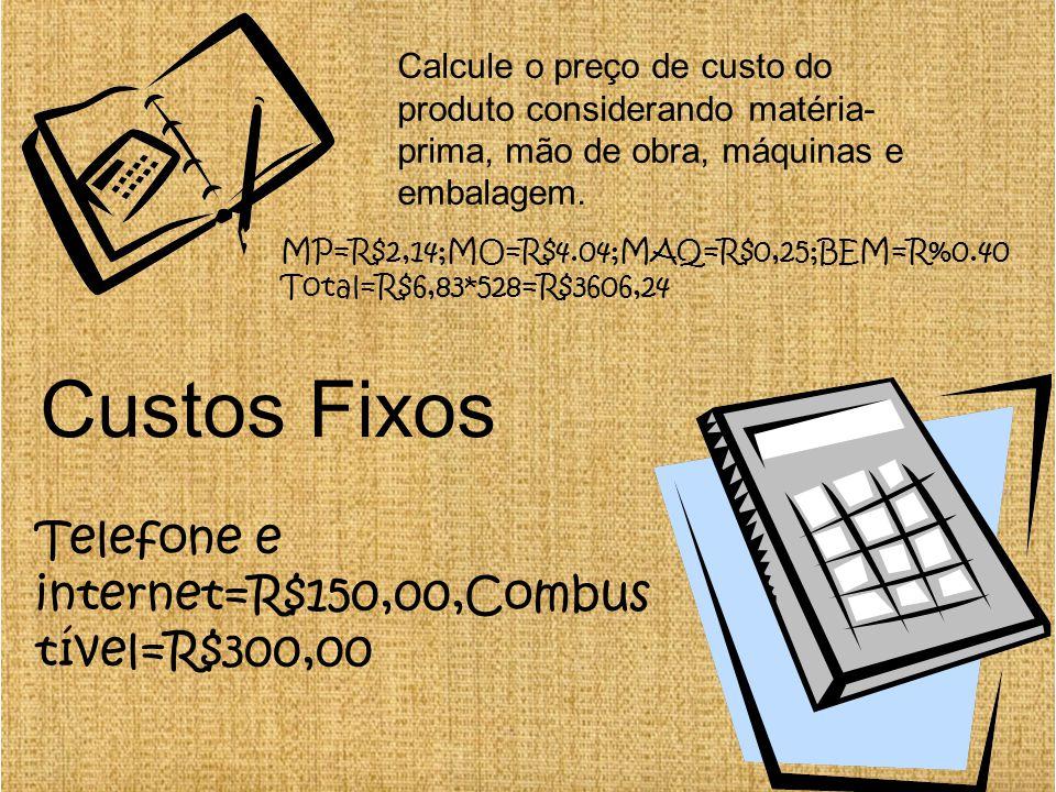 Custos Fixos Telefone e internet=R$150,00,Combustível=R$300,00