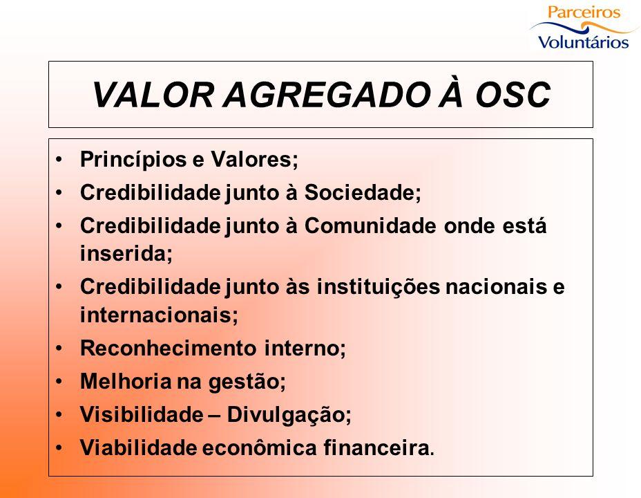 VALOR AGREGADO À OSC Princípios e Valores;