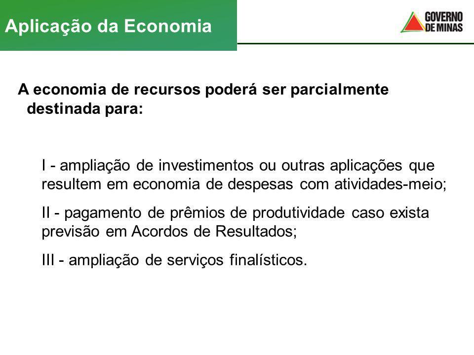 Aplicação da Economia A economia de recursos poderá ser parcialmente destinada para: