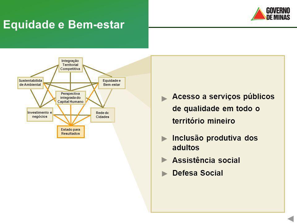 Equidade e Bem-estarAcesso a serviços públicos de qualidade em todo o território mineiro. Inclusão produtiva dos adultos.
