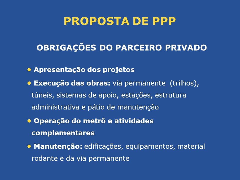 OBRIGAÇÕES DO PARCEIRO PRIVADO