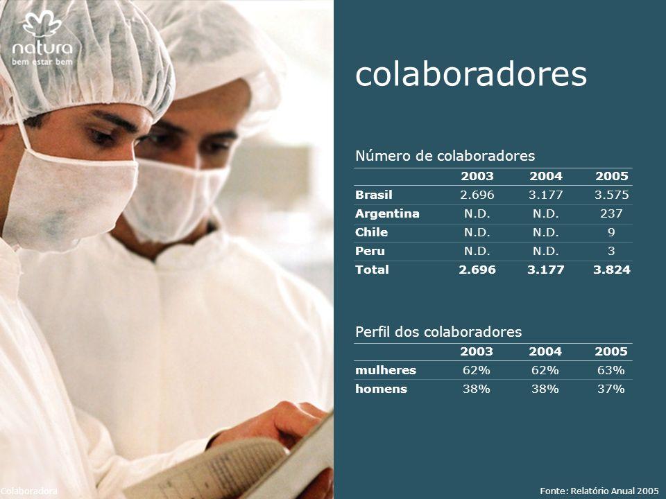 colaboradores Número de colaboradores Perfil dos colaboradores Brasil