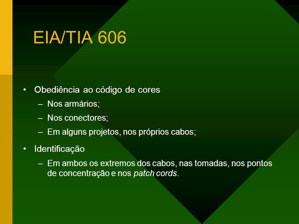 EIA/TIA 606 Obediência ao código de cores Identificação Nos armários;