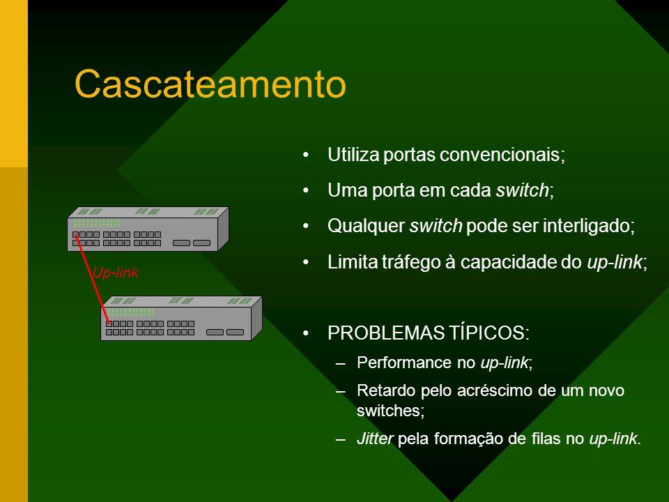 Cascateamento Utiliza portas convencionais; Uma porta em cada switch;