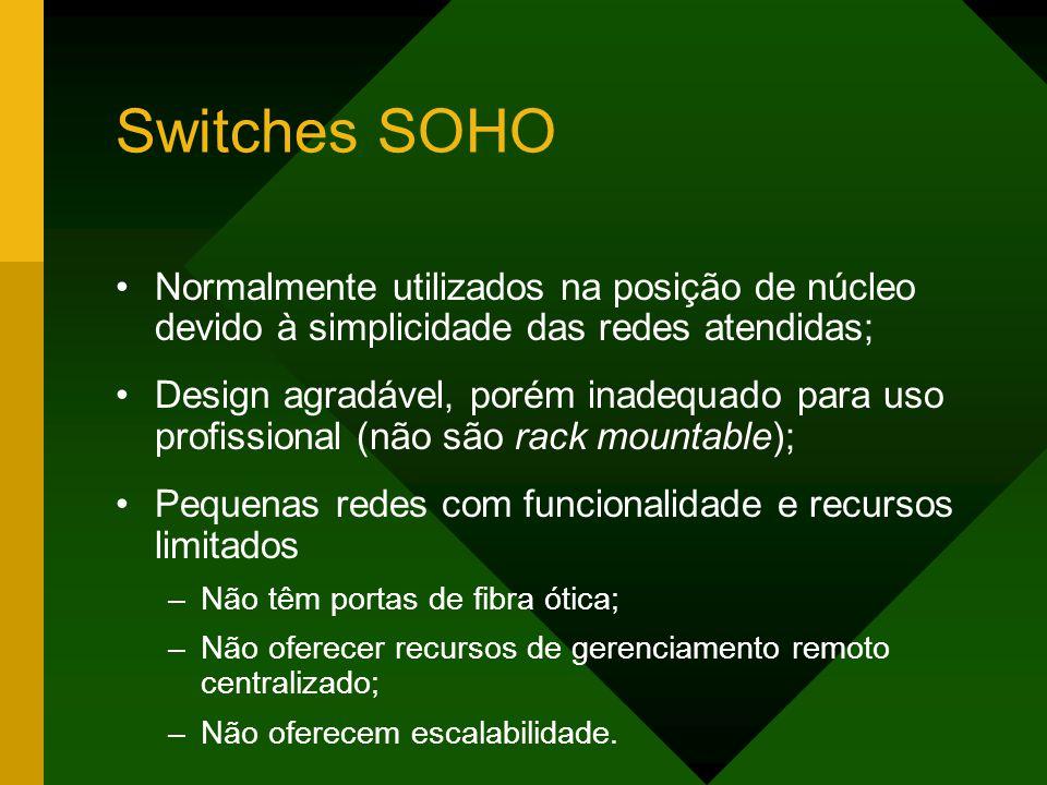 Switches SOHO Normalmente utilizados na posição de núcleo devido à simplicidade das redes atendidas;
