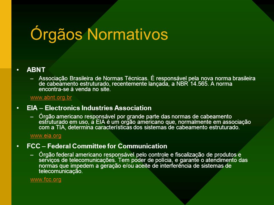 Órgãos Normativos ABNT EIA – Electronics Industries Association