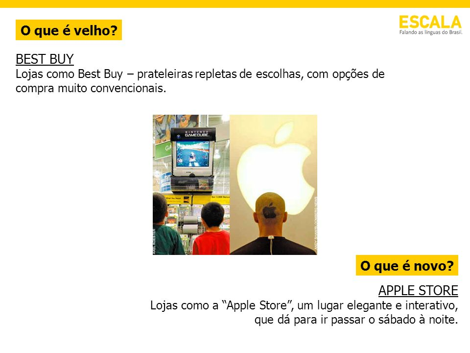 O que é velho BEST BUY O que é novo APPLE STORE
