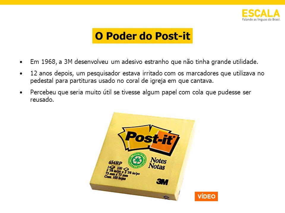 O Poder do Post-it Em 1968, a 3M desenvolveu um adesivo estranho que não tinha grande utilidade.
