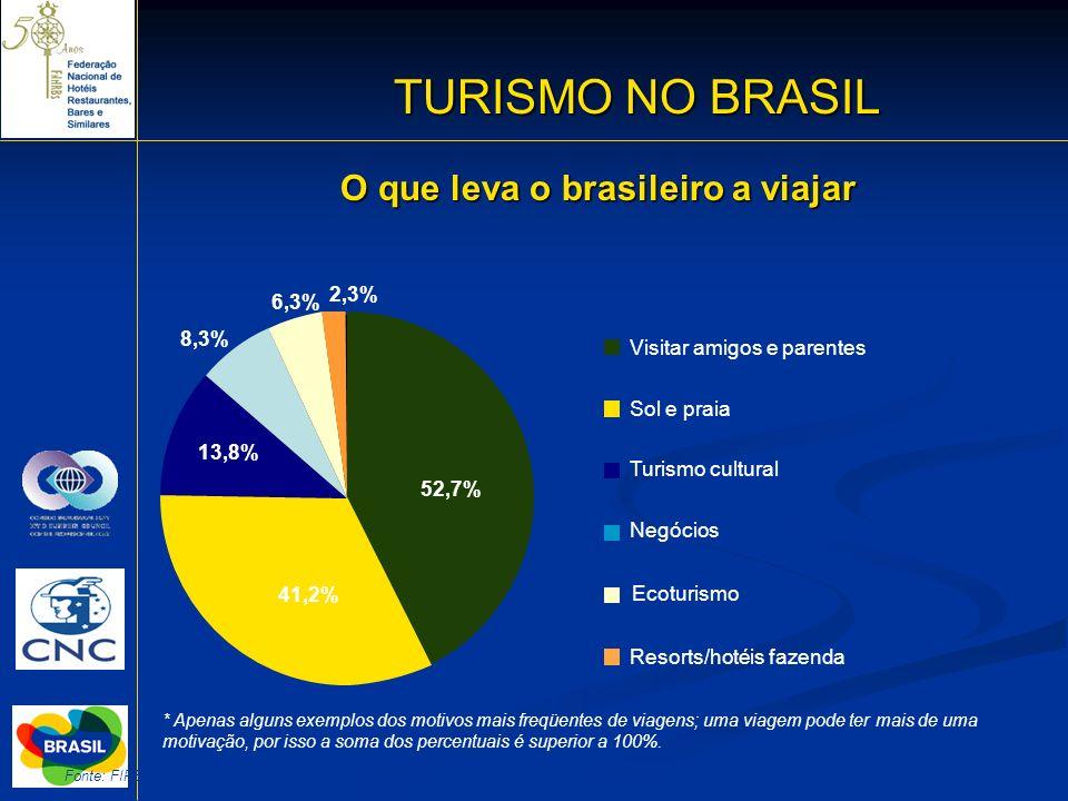 TURISMO NO BRASIL O que leva o brasileiro a viajar 2,3% 6,3% 8,3%