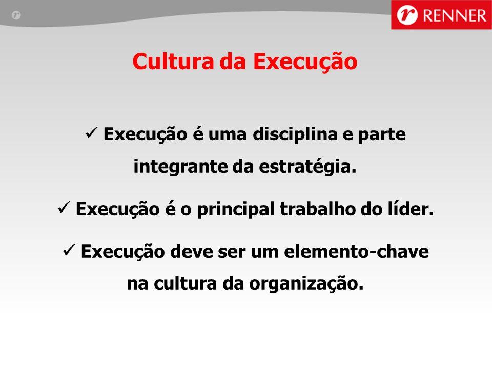 Cultura da Execução Execução é uma disciplina e parte integrante da estratégia.  Execução é o principal trabalho do líder.