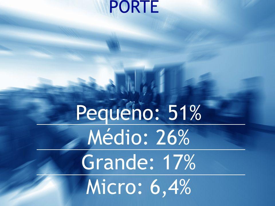 PORTE Pequeno: 51% Médio: 26% Grande: 17% Micro: 6,4%