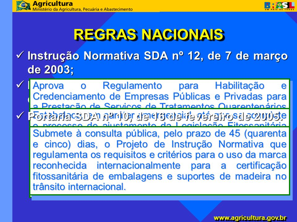 REGRAS NACIONAIS Instrução Normativa SDA nº 12, de 7 de março de 2003;