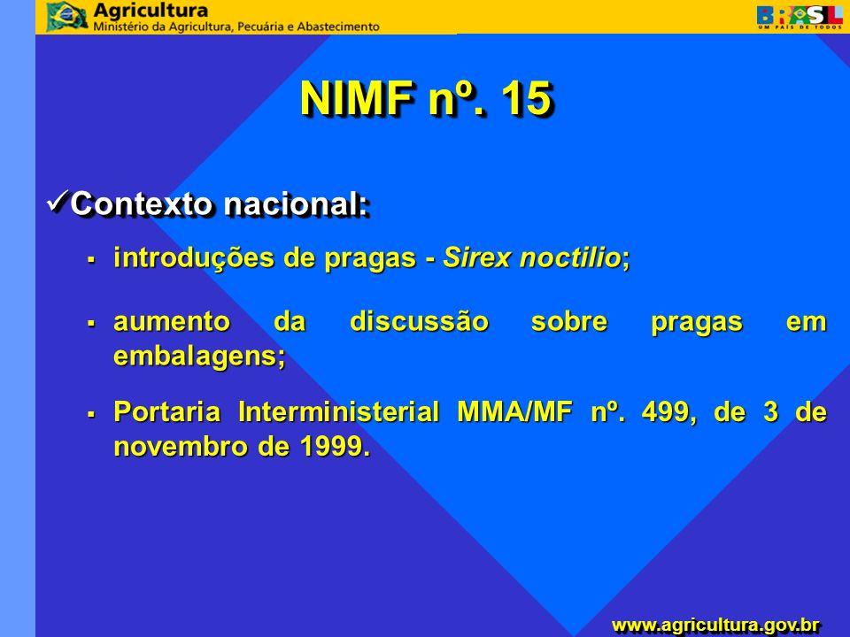NIMF nº. 15 Contexto nacional: introduções de pragas - Sirex noctilio;