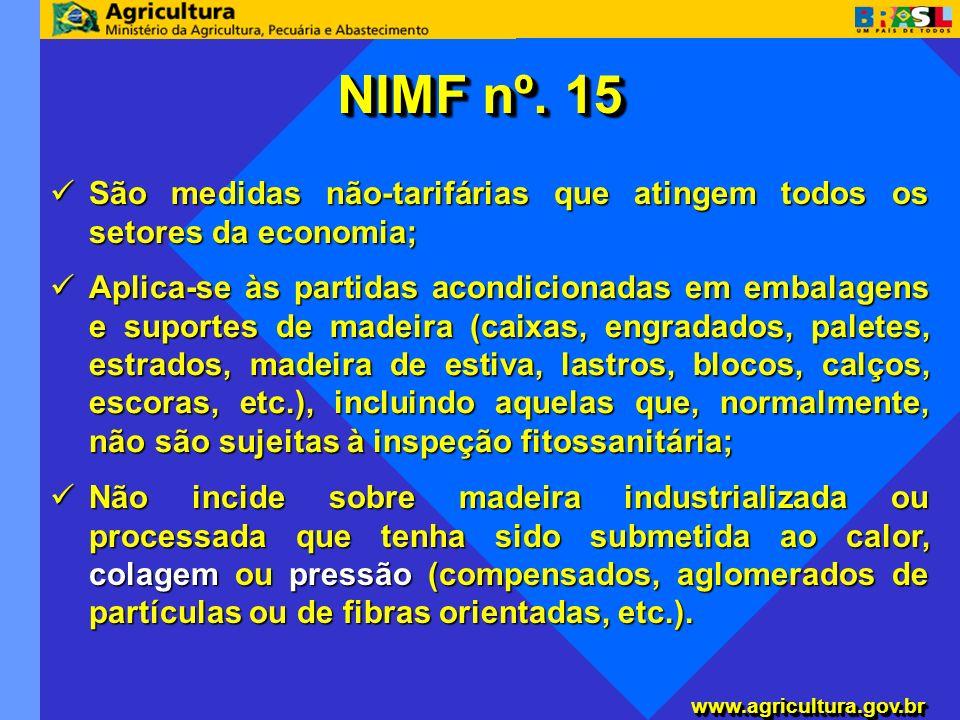 NIMF nº. 15 São medidas não-tarifárias que atingem todos os setores da economia;