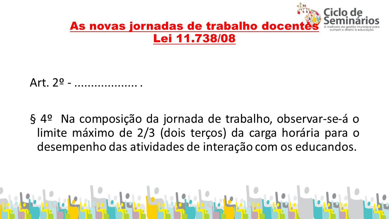 As novas jornadas de trabalho docentes Lei 11.738/08