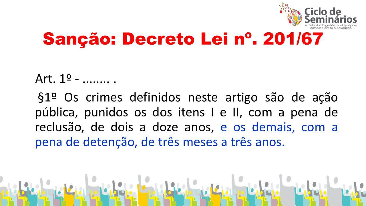 Sanção: Decreto Lei nº. 201/67